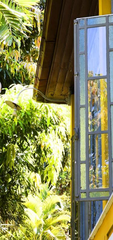 Casa Amarelo -  janela com jardim